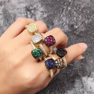 Clássico de Luxo Real Sólida Diamante Anéis de Noivado Da Jóia Do Casamento Para As Mulheres CZ ETERNITY BAND ENGAJAMENTO CASAMENTO Anéis de Pedra