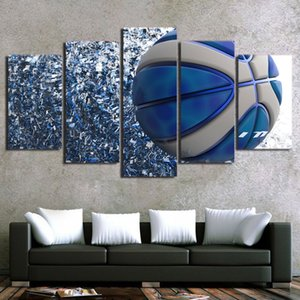 HD Printed 5 Piece Canvas Art Blue Basketball Player Canvas Prints Wall Pictures for Living Room Modern Free Shipping