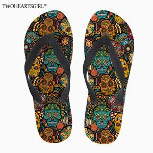wholesale Mexico Skull Print Flip Flops Soft Rubber Sole Flat Slippers for Women Casual Female Ladies Summer Beach Flipflops