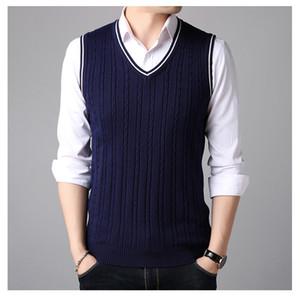 Мужская V-образным вырезом свитер жилет мужчин сплошной цвет свитер жилет мужчин без рукавов мужские вязаные жилеты мужской одежды корейской версии мужчины горячие