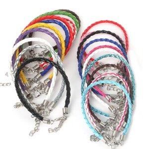 Couleur de la corde en cuir tissé cuir PU boucle de homard collier longe PVC pendant avec bracelet corde en caoutchouc corde mode créatif simple
