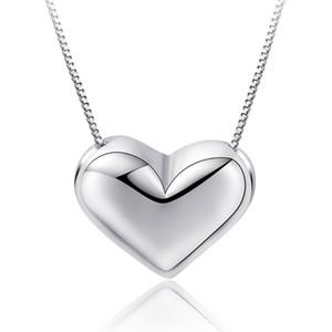 Drop Shipping Pure 925 Sterling Silver Necklaces Heart Pendants&Necklaces Jewelry Collar Colar de Plata