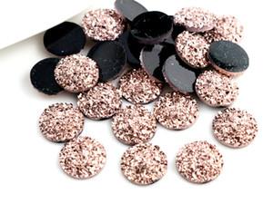 Nueva Moda 40pcs 12mm Rose Gold Plated Colors espalda plana Cabochon Resina para Pulsera Pendientes accesorios