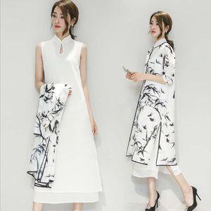 abiti da festa sera abito da sposa tradizionale cinese eleganza cinese del vestito dal cheongsam orientale Donne inchiostro di bambù di stampa