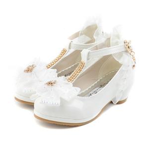 En vente Enfants Party Chaussures en cuir PU enfant en bas âge filles talon bas dentelle fleur Chaussures enfants Filles Chaussures Single Dance Chaussures de Blanc Rose