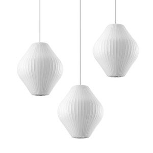 George Nelson E27 LED Pendentif Soie Blanche lumière douce Pendentif Soie Blanche Lampes Lampe Soie Blanche suspendu Eclairage