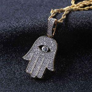 Fatima Hand Подвеска Ожерелья Для Мужчин Бренд Дизайнер Моды Хип-Хоп Ювелирные Изделия 18 К Позолоченные Хип-Хоп Ожерелье