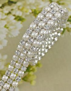 P3 1 야드 3R 다이아몬드 다이아몬드 웨딩 케이크 파티 장식에 대한 라인 스톤과 진주 줄무늬 트림 리본