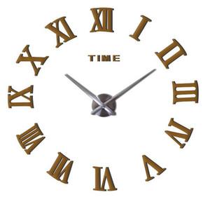 Hot 50 pcs Moda relógio de quartzo home decor limitada venda 3d grande espelho diy real relógio de parede design moderno quarto presente