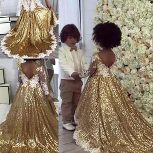 Paillettes 2019 oro a linea fiore ragazze abiti scollo a V maniche lunghe in pizzo applique arco sash una linea compleanno ragazze spettacolo Dresse BC0361s