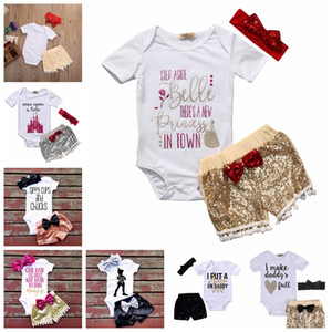 7styles Baby INS letters rompers suit Children Short sleeve triangle rompers+paillette shorts+bowknot Hair band 3pcs sets clothes GGA797