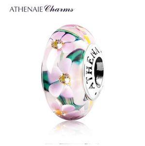 ATHENAIE Charms da giardino in autentico fiore di Murano in argento 925 con nucleo centrale, misura tutti i braccialetti europei