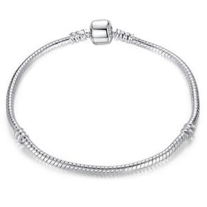 Großhandel 925 Sterling Silber Überzogene Basic Snake Kette Fit Charms Perlen Schmuck Armbänder Armreifen DIY Schmuck machen 3mm 16 cm-23cm