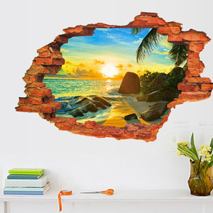 3D Broken Wall Sunset Scenery Wallpaper Ocean Beach Coconut Tree Poster Rimovibile Seascape Wall Sticker per la camera dei bambini Home Decor