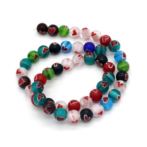 Free Shipping 8mm 48pcs round shape beads Mix colours Round Heart Glass Lampwork Beads for Jewelry handmade decoration