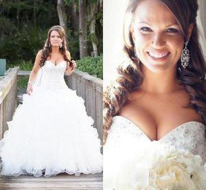 2019 lindo vestido de baile vestidos de casamento do país querida cristal beading ruffles sweep trem organza vestidos de noiva plus size personalizado