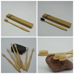 Charbon de bois en bambou brosse à dents bambou brosse à dents en nylon souple Capitellum Brosses à dents en bambou pour Hôtel Voyage fournitures de bain GGA973