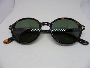 Kaliteli akıllı designerTF5049 yuvarlak polarize Güneş Gözlüğü Kaliteli bellek-tahta Metal Menteşe polarize kahverengi yeşil UV400 Googles tam set vaka