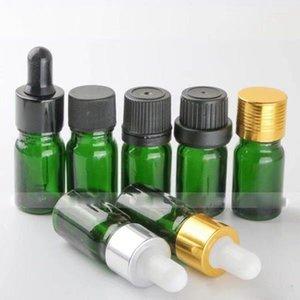 envío 765pcs / lot libre de 5ml vacíos de botellas de vidrio con gotero de aceites esenciales E-líquido de cristal verdes Botellas de embalaje mayorista