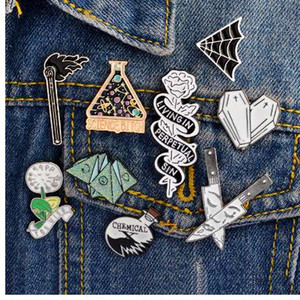 Enamel Pin Origami game Heart coffin Science chemical Cobweb Matches Rose Knife Brooch and Pin Cartoon Lapel Pin Button Badges