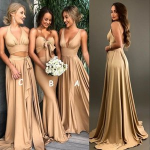 Sexy Gold Bridesmaid Dresses with slit 2018 A Line V Neck Long Boho country beach Maid of Honor Gowns Plus Size Wedding Guest Wears