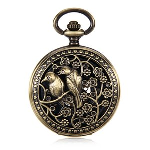 Lover Double Birds Carved Steampunk Pocket Watch Fashion Skeleton Watches Hand Wind Mechanical Pocket Watch Reloj de bolsillo