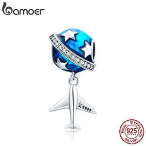 925 Ayar Gümüş Köpüklü Yıldız Ve Düzlem Rüya Temizle CZ Mavi Emaye Charms fit Bilezikler DIY Yıldönümü sevgililer Günü Takı Hediye