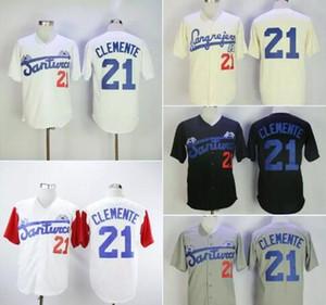 Moda erkek Santurce Yengeçler Porto Riko Roberto Clemente Jersey 21 Ucuz Siyah Beyaz Gri Dikişli Koleji Beyzbol Gömlek