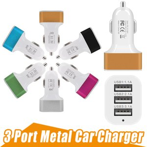Universal 4.1A 12V 3 USB Port Travel Car Charger Adapter For iPhone X 8Plus 8 7Plus 6S 6 Samsung S9 S8 Note 4 Smart Mobile Phone 200pcs lot