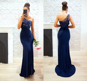 Navy Blue Mermaid Prom Dresses 2020 One Shoulder Appliques Illusion Bodice Arabic Long Modest Evening Party Pageant Gowns Custom Made