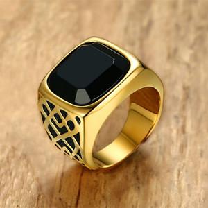 Men Square Black Carnelian Anello con sigillo in pietra semipreziosa in oro tono acciaio per accessori maschili gioielli anilos
