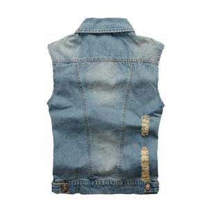 Jeans Weste Männer ärmellose Jacke gewaschen hellblau Hip Hop Vintage zerrissene Cowboy Männer Casual Denim Weste Großhandel