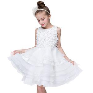 Girls dress formal wedding banquet ceremony Stereo flowers white princess dress flower girl dresse for girl Baby girl's clothes