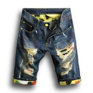 2018 Nova Moda Mens Rasgado Calça Jeans Curta Roupas de Marca Shorts de Algodão Respirável Shorts Masculinos personalidade