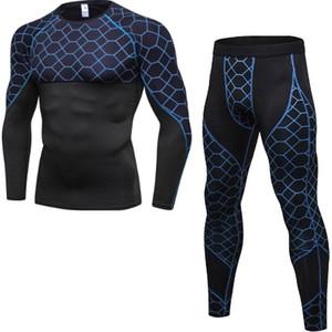Camicia Compression da uomo in esecuzione sportiva con pantaloni Maniche lunghe skin-tight Maniche lunghe Fitness Dry Tute da ginnastica