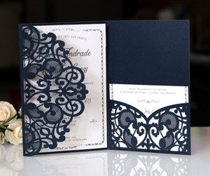 Romantique Dark Navy Spring Flower pailleté Laser Cut poche d'invitation de mariage Kits personnalisables Invitations