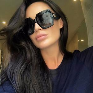 2018 nuevo diseño de la marca gafas de sol retro mujer marco cuadrado de lujo gafas de sol de gran tamaño UV400 gafas de sol Sunglass negro verde sombras