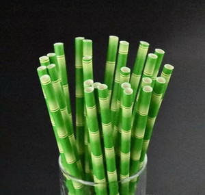 19.5cm Disposable Bubble Tea Thick Bamboo Drinking Paper Straws For Bar Birthday Wedding Party
