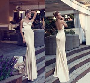 Glamorous Champagne Mermaid Abendkleider Spaghettiträger Backless Hofzug Perlen elastischem Satin Lange Porm Kleider Formal Wear
