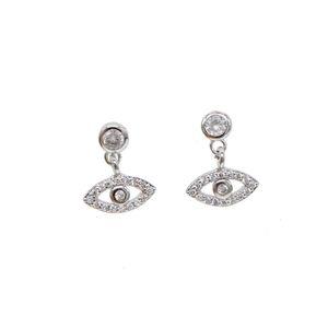 2018 골드 실버 색상 새로운 패션 보석 행운의 귀여운 작은 눈 매력 터키의 악마의 눈 포장 CZ 925 스털링 실버 dangle 귀걸이