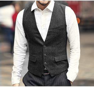2021 Modest Cinzento Novo Noivo do Noivo Coletes Lãs Único Breasted Herringbone Tweed Coletes Groomsmen Vest Mens Terno Coletes Coletes Custom Feito