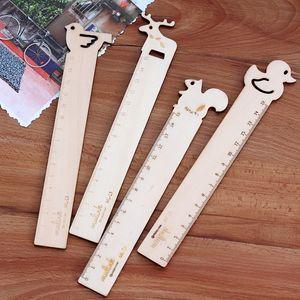 15 cm Kawaii lindo de dibujos animados jirafa ardilla regla de madera encantadora Bird Duck Ruler para los niños novedad papelería estudiante TY2260