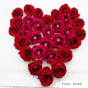 LIN MAN 60pcs artificiel décoratif Rose têtes de haute qualité fleurs simulation DIY Flannelette capitule pour mariage home party décor