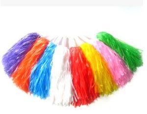 Envío gratis, 25 g de plástico PE pompón animador, pom pom, rojo, azul, verde, blanco, negro, amarillo, púrpura y rosa fuerte