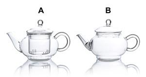 Tipos resistente ao calor vidro claro Mini flor Bule w / Infuser A / B Drop Shipping