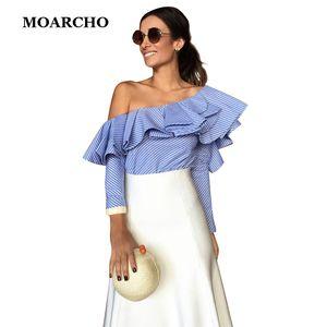 MOARCHO 2017 Casual Blau Frauen Bluse Shirt Baumwolle Striped Damen Tops Schulter Rüschen Langarm Blusen Sommer Blusas