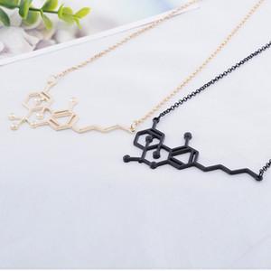2 color Química Biológica Estructura Molecular Colgante Collar Collar de Cadena de Eslabones de Aleación Para Las Mujeres Regalo de La Joyería