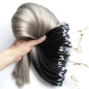 Silver Ombre micro loop ring extensiones de cabello 300g 1g / s 300s gris Remy Micro Bead Hair Extensions T1b / Gray Micro Link extensiones de cabello humano