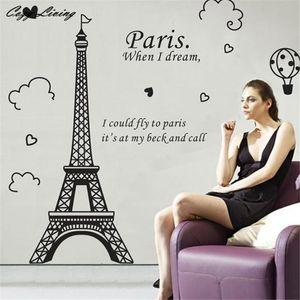 Adesivos de parede Paris Torre Eiffel Vinil Removível Art Decal Mural Início Adesivo de Parede Decalques Da Parede Do Quarto Janela Poster D12