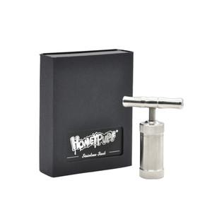 """""""HoneyPuff"""" acciaio inossidabile Engineered ottone Cilindro Heavy Duty T Forma Pollen Press Presser Compressore a secco Herb Grinder Tabacco Gift Box"""